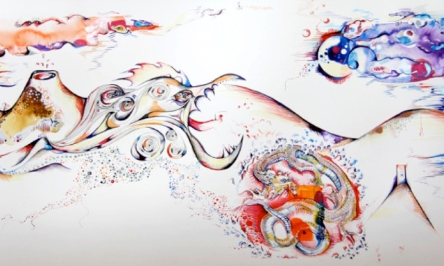 (Detail from scroll created with patients labelled with schizophrenia, mixed media on paper, 10 metres, 2012 Sanchita Islam)