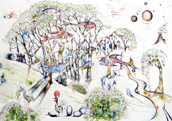 ink and crayon drawing of a woodland landscape with fish