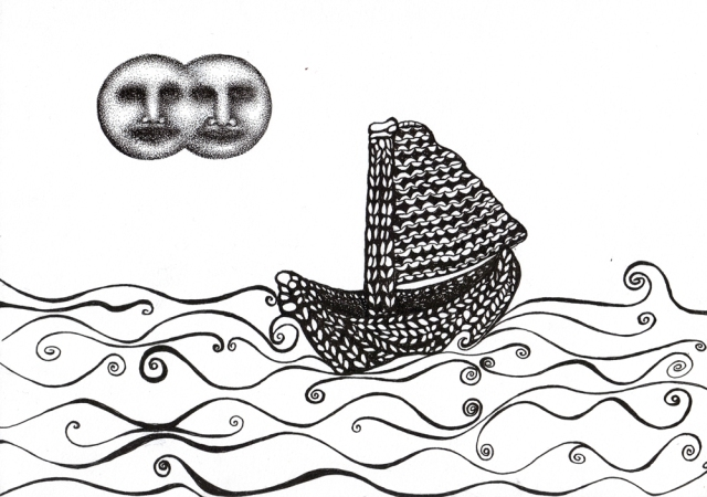 drawing of a knitted boat, with two full moons in the top-left hand part of the drawing