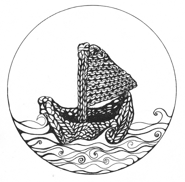 drawing of a knitted sailing boat
